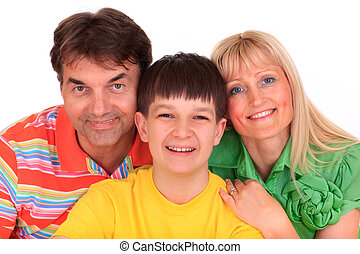 Smiling boy with parents