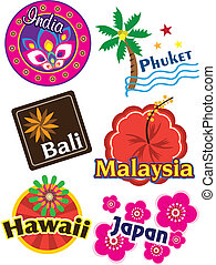 Travel sticker - Stock Vector Illustration: Travel sticker