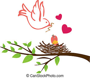 Bird - Stock Vector Illustration: Bird family