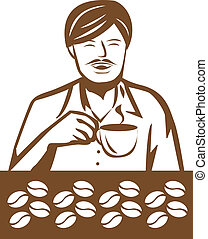 Man - Stock Vector Illustration: Man drinking coffee