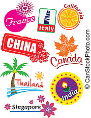 Country sticker - Stock Vector Illustration:Country sticker