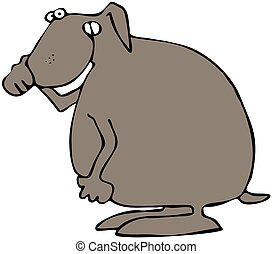 Dog Holding Its Nose - This illustration depicts a brown dog...