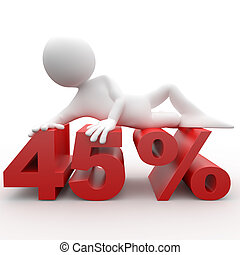 Man lying on the 45 percent