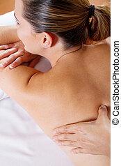 young woman back massage