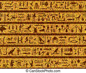 Egyptian seamless hieroglyphs pattern For easy making...
