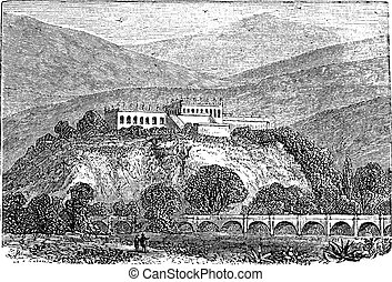 Chapultepec Park bosque in Mexico city, in late 1800s vintage engraving