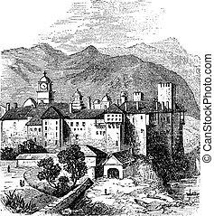 Mount Athos or The Holy Mountain, Macedonia, Greece. Vintage engraving.