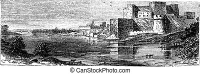 The castle of Brindisi vintage engraving - Illustration of...