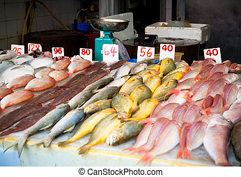 fresh fish at a fish market