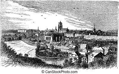 Bern city in late 1800s, Switzerland , vintage engraving -...