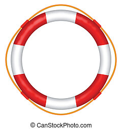 lifebelt - life buoy with rope - red and white lifebelt -...
