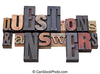 questions and answers - word abstract in antique wood...