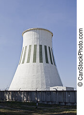 Cooling Tower - Thermal power stations cooling tower on blue...