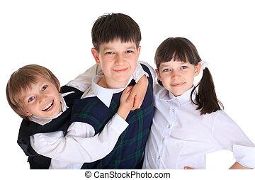 Happy School Children - A portrait of happy school children,...