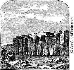Temple of Luxor or Quorenth ruins, in Thebes, Egypt Vintage...
