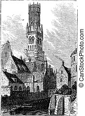 Belfry of Bruges, or Bellfort, Bruges, Belgium. Vintage...