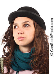 young girl - portrait of young girl with hat
