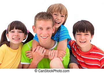 Happy Siblings - A portrait of happy siblings in colorful...
