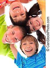 Happy children portrait - Portrait of four happy children in...