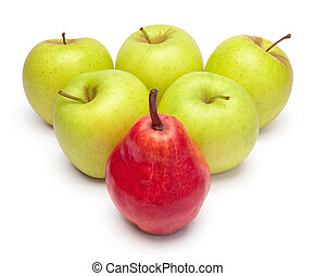 A ripe red pear and green apples as triangle