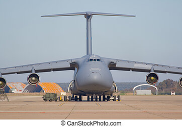Transporting airplane - Military plane of transportation of...