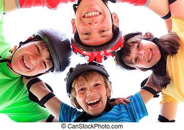 niños, cascos, almohadillas