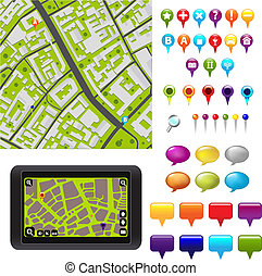 GPS Icons And Map - City Map With GPS Icons, Vector...