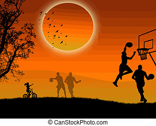 Basketball in the park - Background illustration with...