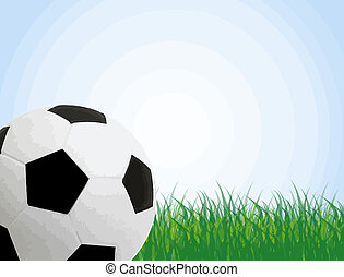 Soccer poster with ball in the grass and with space for your...