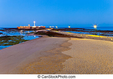 Beach of La Caleta of Cadiz - Landscape of the beach of La...
