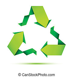 Origami Recycle - illustration of recycle symbol made of...