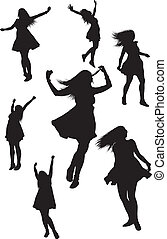 woman of joy - seven joyful woman silhouettes nicely layed...