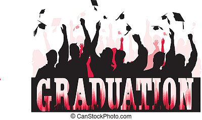 Graduation celebration in silhouette..Easily editable in...