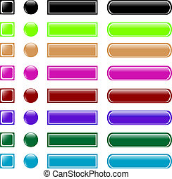 web button set collection - set of colorful web button shiny...
