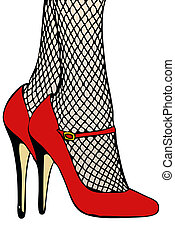 Fishnet stockings - A woman in fishnet stockings and red...