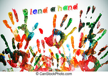 lend a hand written on a background full of handprints of...