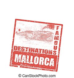 Mallorca stamp - Grunge rubber stamp with island, palms and...