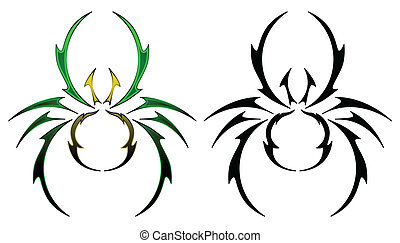 Spider tattoo design - Abstract spider design rendered in...