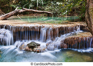 beautiful waterfall cascades