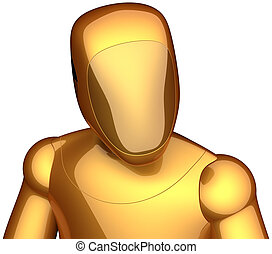 Golden cyborg futuristic robot - Robot crash test dummy...