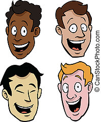 Various male cartoon faces - Four cartoony male faces of...