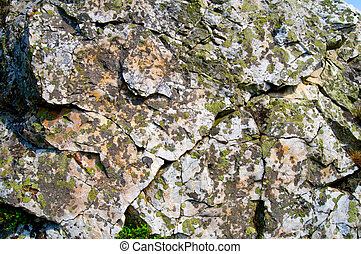 lichen covered rock face
