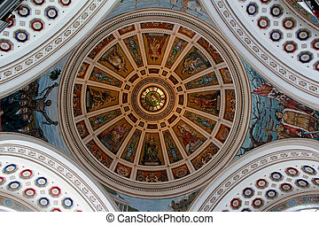 Historic dome art, San Juan, PR - The beautiful frescoe in...