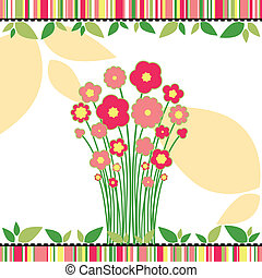 Springtime love greeting card with colorful flowers on...