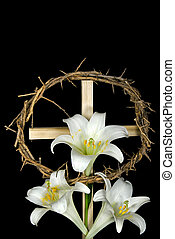 Easter Holiday - Easter lilies with crown of thorns on cross...