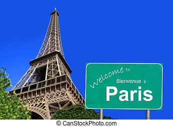 Welcome to Paris sign in English and French with the Eiffel...