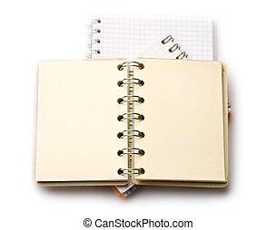 cuadernos, aislado, blanco