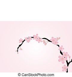 branch isolated on pink - Vector illustration of cherry-tree...