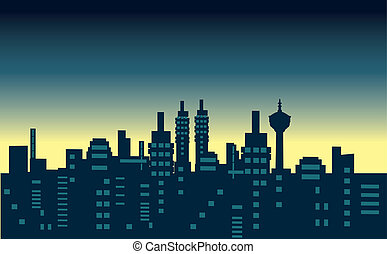 Vector city in the night