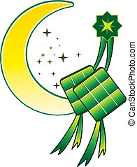 Ketupat & Moon - Stock Vector Illustration: islam new year...